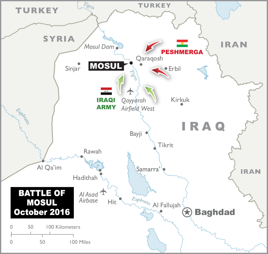 Map of Iraq Battle of Mosul